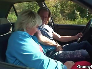 80 years old granny banged in the car