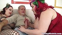 Busty bbw beauties enjoy threesome sex