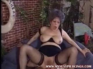 Pierced pussy MILF granny taking cock in her asshole