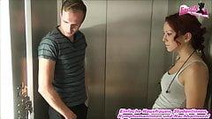 German skinny 18yo amateur teen fucks in lift in public