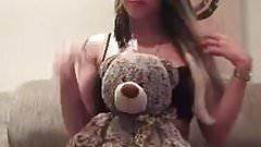 blond with teddybear has surprises