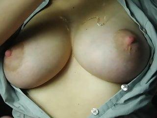 Open shirt titfuck & cum on tits