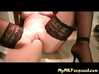 My MILF Exposed Super hot blonde in stockings rough fisting