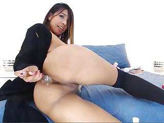 Teen Latina Babe Fucking Her Ass Hole with Dildo