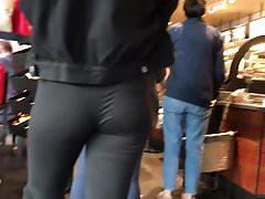 vpl tight spandex in starbucks