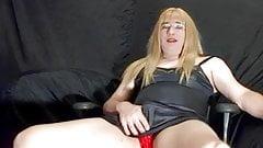 Crossdresser in a slip cums