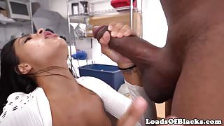 Amateur beauty cheats at interracial casting