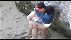 A Couple Having  Voyeur At The Beach