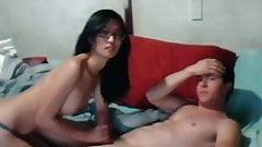 Asian girl white guy on webcam
