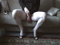 Wanking my big balls in stockings and heels