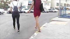teen red skirt jiggle ass