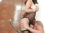Horny tranny  displays her cock