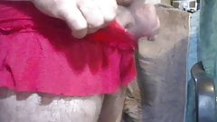 Red panties with skirt..