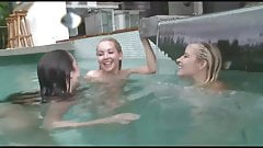 lesbian teen trio in the swimming pool