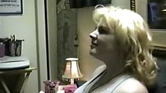Blonde amateur MILF deep throat blowjob