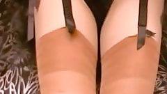 Tan Stockings Black Lingerie