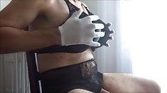 the big tits of hofredo in a black bra