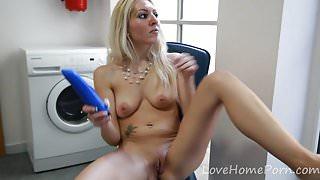 Pretty blonde spreads her legs and masturbates