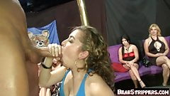 Cock hungry sluts go down on strippers
