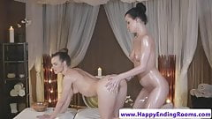 Sensual massage lesbian oiled and fingered