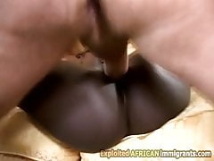 Horny African petite roughly fucked