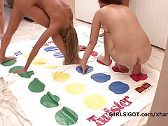 Skinny asses up foursome lesbian twister party game