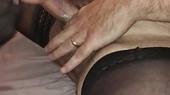 Hubby and wife in stockings dirty talk cum on feet