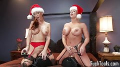 Busty christmas babes pussy fuck sybian