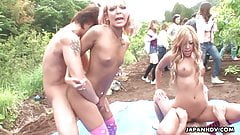 Asian blondies getting fucked in a vegetable field