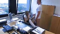 British blonde slag sucking cock and facialized in office