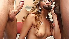 Slutty blonde amateur GF interracial threesome with facials