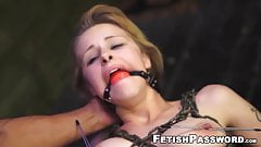 Chained Lily Dixon struck with latino cock and facial
