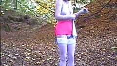 Angela. Strips in the woods