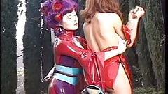 Big tits hottie bound outdoors for another hotties pleasure