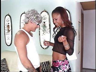 Tall slim black beauty sucks white dude's cock then he fucks her open cunt
