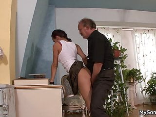 Moustached Old Man Forced Son S Gf To Sloppy Fuck