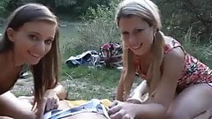 Two girls ,one dick in nature's Thumb