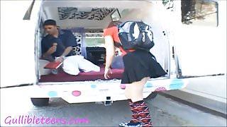 icecream truck teen schoolgirl in knee high socks gets half