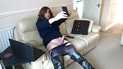 Alison wanking in her favourite Thigh Boots