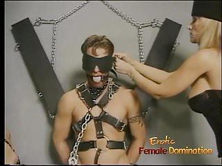 Horny stud enjoys having his throbbing boner tied up by two