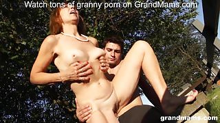 Horny old bitch Amanda stalled car premise fuck on GrandMams