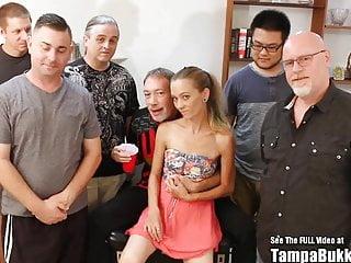 Thin Blonde Tiny Tits Slut Bukkake Sperm Gang Bang