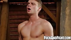 Muscular wrestler jock fucks and rides his buddy in basement