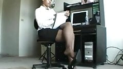 Ebony Business Woman Shoeplay