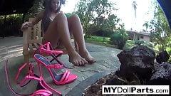 Kayla pleasures her feet in her office