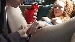 Babe gets banged in mz bang van and takes cumshot load