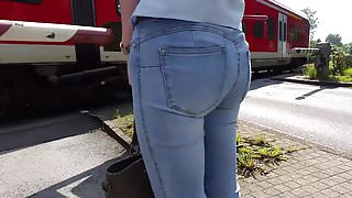 Very hot blonde teen with nice round jeans ass
