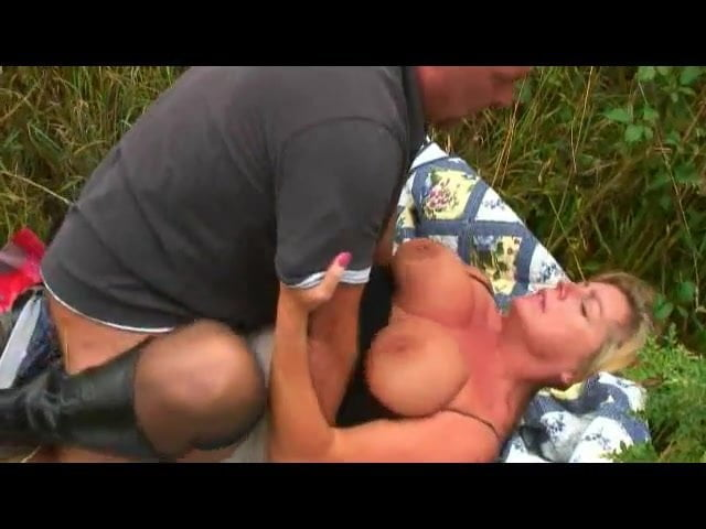 Blonde big tits mature fucks her hubby outside