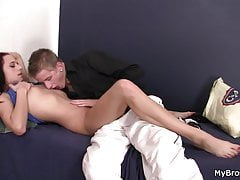 His slutty brunette gf takes cock from behind
