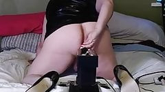 TS Cristy gets Pounded in Black Latex by Machine
